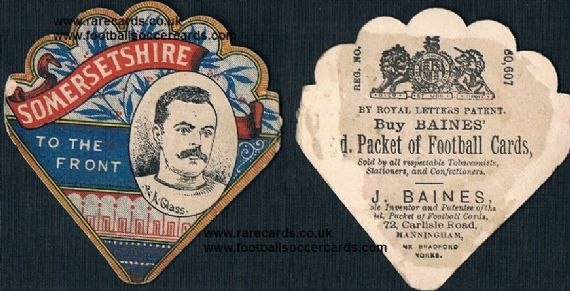 1890 Baines fan card R.A. Glass Somersetshire rugby cricket